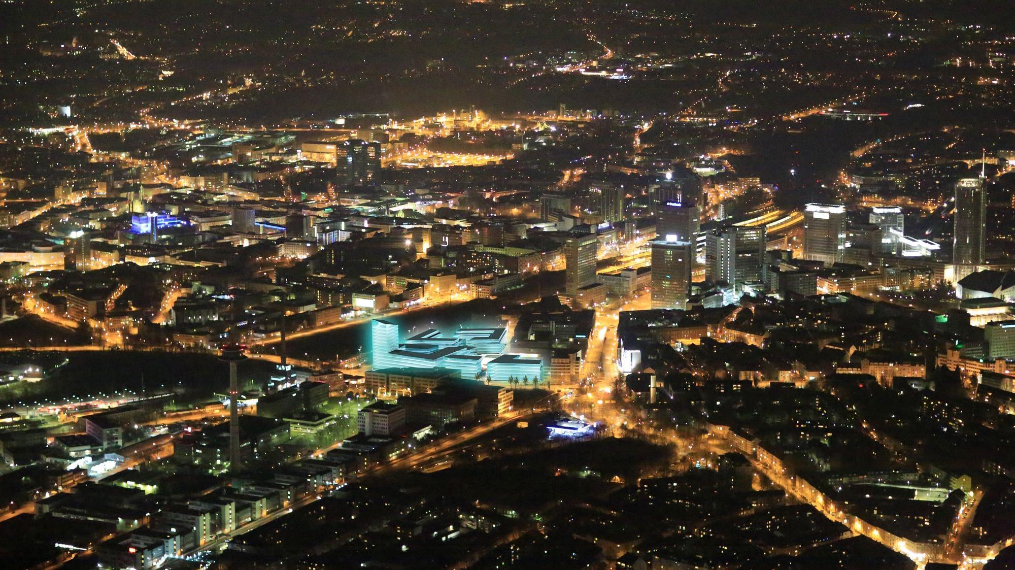 Literatur Quartier Essen Nachtluftbild